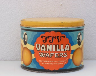 FFV Vanilla Wafers Tin from Southern Biscuit Co Richmond Viriginia Advertising Collectors Tin Cookie Factory Lofts