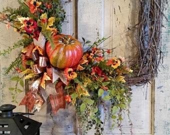 Silk Flower Wreath-Fall Grapevine Wreath-Square Grapevine Wreath-Pansy Wreath