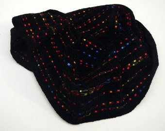 Black scarf chenille handwoven with 6 by 76 inches