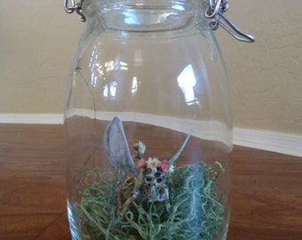 Skeleton Fairy in a Jar-Halloween Decorations-Skeleton Figurine-Jar Crafts-Gothic Artistry-Punk Decor-Home-Dorm-Room Decor-Scary Decorations