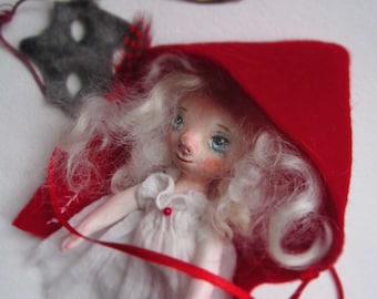 Little Red Riding Hood art OOAK miniature clay doll