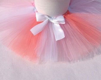 Coral and pink tutu, available in other colors, ombre tutu, infant tutu, pink tutu, coral tutu, baby tutu, tutu with bow, birthday tutu