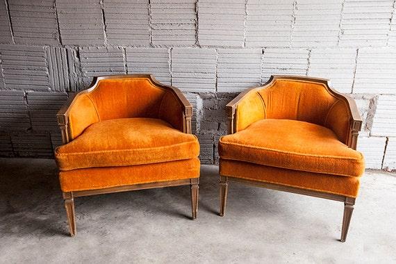 Vintage Orange Felt Mid Century Chair Pair