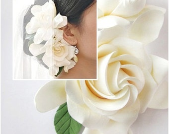 Double  Gardenia hair clips. White, Ivory Gardenia. Two Gardenia. STANDARD SHIPPING.