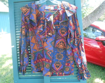 Vintage Poet Blouse County Seat Nuovo Medium Cotton See Measurements