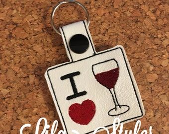 I love wine key fob, wine lovers gift