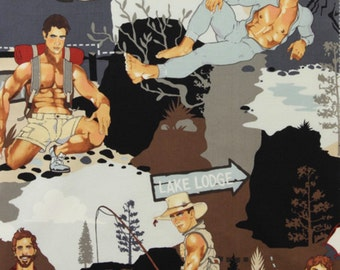 The Outdoorsy Type Camping Hunks Pin Ups Alexander Henry Fabric in Frost - Grey, Gray