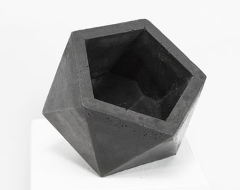 Concrete Geometric Original Medium Icosahedron dark vessel