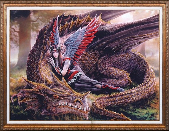 Mysterious Dragon DIY bead embroidery kit, Housewarming Gift Idea, Wall decor, bead stitching