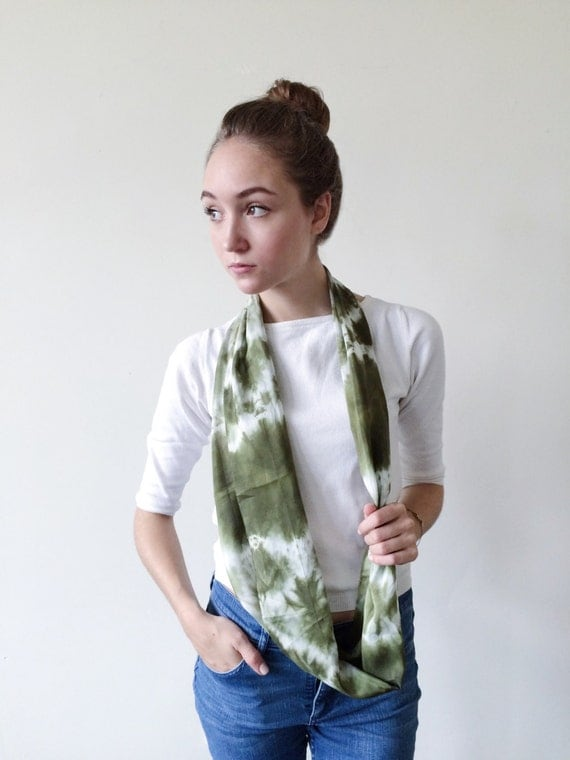 Green Scarf-Infinity Scarf-Silk-Scarf-Scarves-Scarves for Fall-Scarves for Summer--Scarves for Spring-Holiday Gift-Gift for Mom-Gift for My
