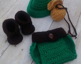 Peter Pan inspired  or Robin Hood Hat and Diaper Cover and shoes