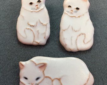 Handmade pottery cat brooch and earrings-cute!  Free shipping