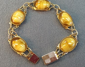 Bracelet with Yellow Glass Striped Stones-Free shipping