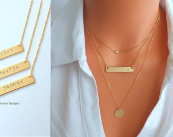 Name Plate Necklace, Personalized Gold Bar Necklace, Bar Necklace, Name Bar Necklace, Bridesmaid Jewelry, Initial Necklace