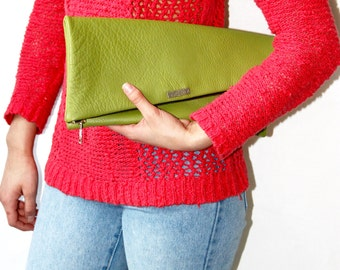 Lily Fold Over Leather Clutch