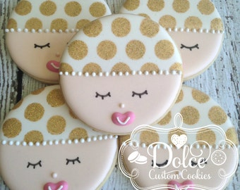 Baby Face Baby Shower Gold Dot Sparkle Cookies