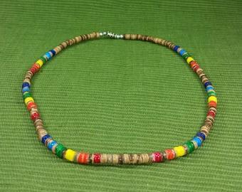 Rainbow Necklace - Gay Pride Necklace -  Rainbow Wooden Necklace- Brown Necklace -Multicolored Necklace- Coconut Necklace-Friendship - LGTB