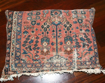 Mid Century / Hollywood Regency/ Bohemian Antique Large Persian Rug Pillow