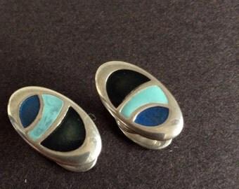 Ortak Sterling silver enamel cufflinks ,press stud style