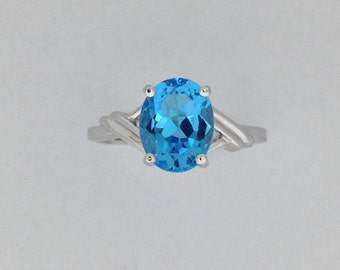 Natural Blue Topaz Solitaire Ring 925 Sterling Silver