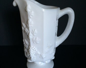 Small Vintage Milk Glass Pitcher with Faux Bois Handle