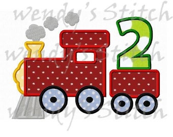 Train birthday applique number 2 machine embroidery design instant download