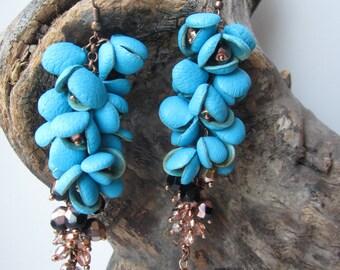 Blue grape dangle earrings, statement earrings, designer earrings, wearable art