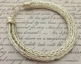 Silver double Viking knit bracelet