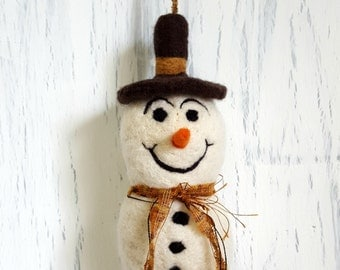 Snowman Ornament Needle Felted Brown Hat with Ribbon Scarf