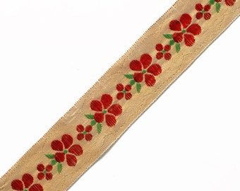 "2-Yards 1"" Flower Jacquard Ribbon Trim, Red/Gold, SP-2329"