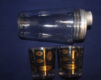 1960's Drink Glasses set w/ Free Shaker