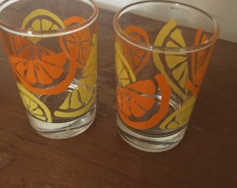 Vintage Anchor Hocking Orange/Lemon Slices Juice Glasses Set of 2