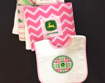 John Deere Bib Burp Cloth Set Two Burp Cloths Terry cloth Back Embroidered appliqué bib adjustable
