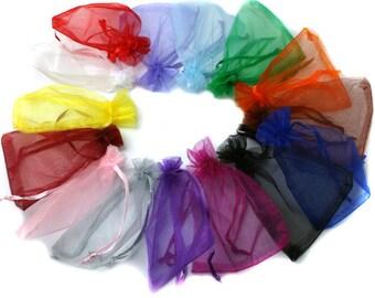10 - Mixed Color Organza Gift Bags 10x15cm