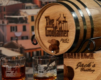 Make your own Whiskey Gift for Dad / Husband, Oak Barrel 5L Bootlegger Man Cave Gift with The Godfather Movie Logo, Age Scotch Whiskey & Rum
