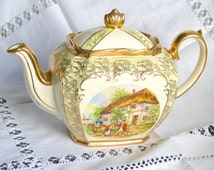 Sadler Cube Teapot - Made in England - Gold Scrolling Soft Green Panels Gold Chintz  Cottage Scene Old Country Inn Transfer Print - 2 pint