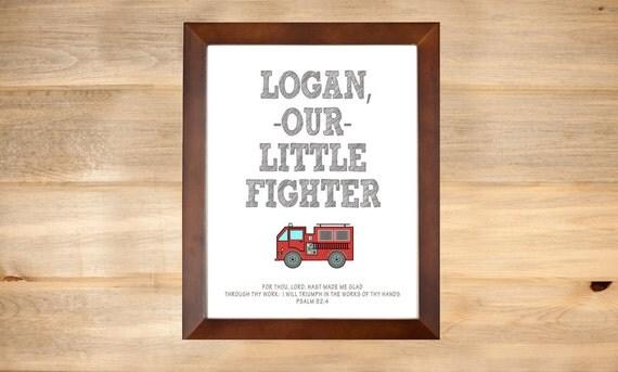 Firefighter Baby Print Fire Truck Nursery Decor By DaintyPress