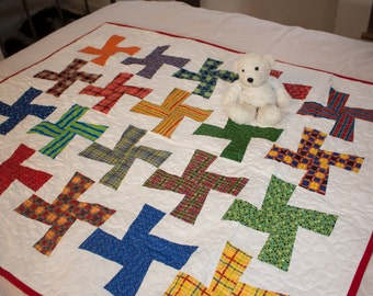 Plaids and Stripes Pinwheels Modern Baby Toddler Quilt - All proceeds to Leukemia and Lymphoma Society