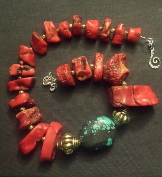 Vintage Red Coral Nugget Statement Necklace BOHO CHIC Urban