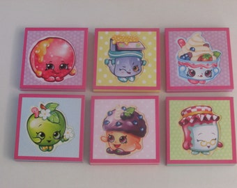 Shopkins Set #1  Note Pads Set of 6 - Excellent Party Favors - Shopkins Birthday - Shopkins Party Favors - Shopkins Mini Note Pads
