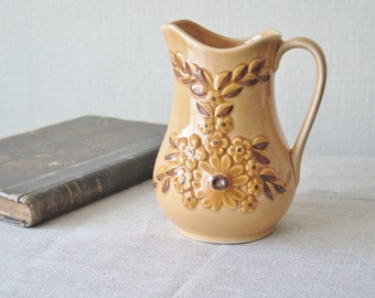 Rosa Ljung Ceramic Milk Jug Vintage Swedish Ceramic Art Pottery Helsingborg Brown Floral Jug, Ceramic Vase @135