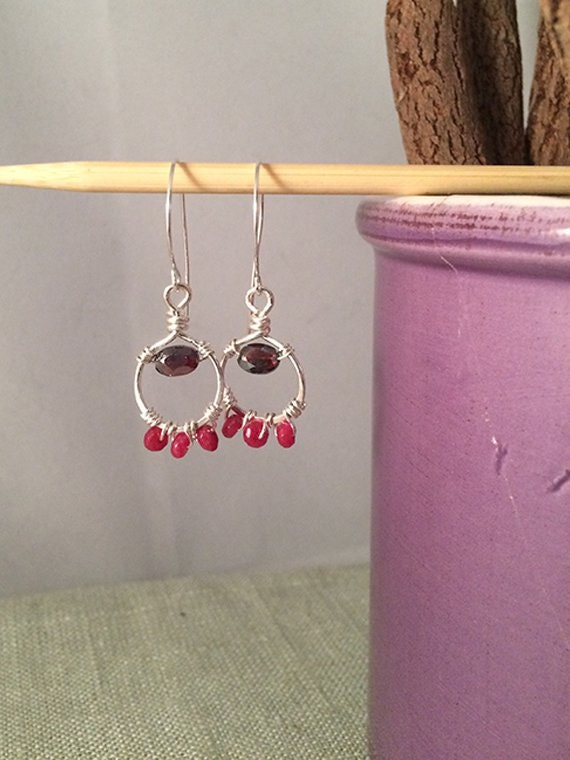 Ruby Earrings, Ruby & Wire Earrings, Wire Wrap Ruby Earrings