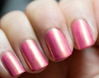 Pink - Gold Shimmer Nail Polish - Full Size  15ml Bottle - 5 Free - Angelic Polish / Azazael