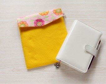 Planner pouch, case for planner, yellow Personal planner bag, filofax felt case, organizer cover
