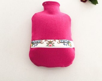 Hot Pink Wool | Hot Water Bottle Cover | Vintage Cross Stitch