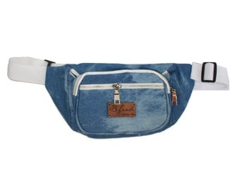 Acid Washed Denim Fanny Pack