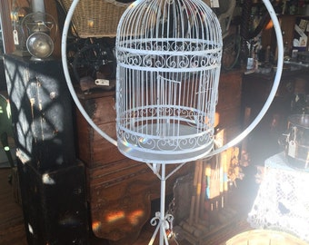Very Large Bird Cage from 1940's, Wrought Iron and Wire Mesh, Slide Out Waste Tray