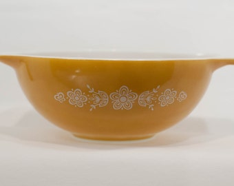 Pyrex Butterfly Gold Cinderella Bowl 444 Gold Bowl White Design 4 Quart