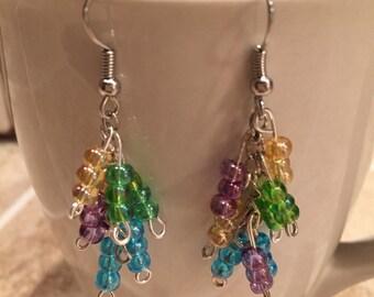 Dangle layered earrings, colorful bead earrings, earrings