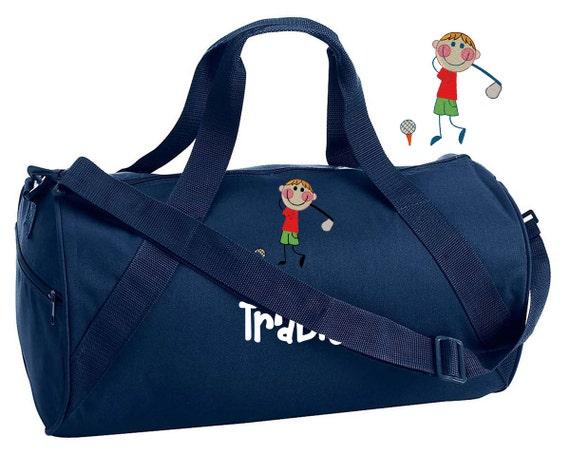 Embroidered monogrammed boys golf bag duffel childrens kids